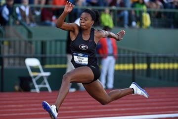 Keturah Orji in action on the final day of the NCAA Championships in Eugene (Kirby Lee)