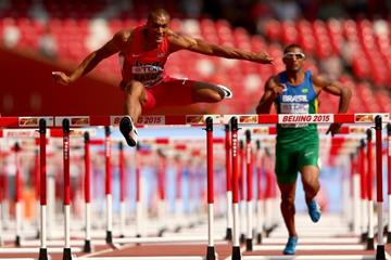 Ashton Eaton in the decathlon 110m hurdles at the IAAF World Championships, Beijing 2015 (Getty Images)