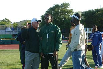Clyde Hart, Michael Johnson,and their pupil Darold Williamson (Baylor University Sports Information)