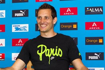 Renaud Lavillenie at the Areva Meeting - Samsung Diamond League press conference, 7 July 2011 (Errol Anderson)