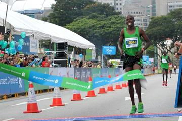 Kennedy Kiptoo Lilan winning in Singapore (Singapore Sports Council)