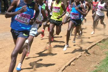 Olympic 1500m silver medalist Asbel Kiprop (left) on his way to winning the 1500m at the New KCC/Athletics Kenya weekend meeting in Nakuru (David Macharia)