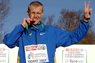 Sergiy Lebid bites his seventh European XC gold (Hasse Sjögren)