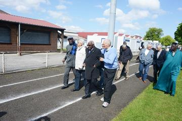 IAAF President Diack and his former French team mates at the Stade Leo Legrange   (IAAF)
