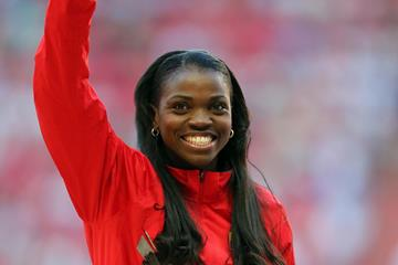 Colombian triple jumper Caterine Ibarguen on top of the podium (Getty Images)