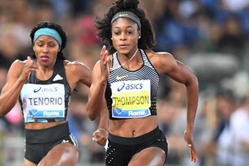 Elaine Thompson winning the 100m at the 2016 IAAF Diamond League meeting in Rome (Gladys Chai)