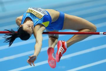 Hanna Melnychenko in the pentathlon high jump at the 2014 IAAF World Indoor Championships in Sopot (Getty Images)