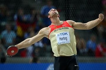 Robert Harting of Germany on his way to winning the gold medal in the men's Discus Throw in Berlin (Getty Images)