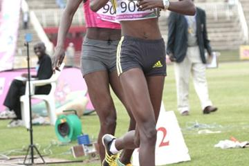World 800m champion Janeth Jepkosgei (right) silences her critics by beating Olympic champion Pamela Jelimo in the New KCC National Trials for the 2009 World Championships in Athletics at the Nyayo National Stadium in Nairobi (Elias Makori)