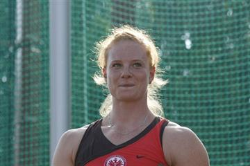 Betty Heidler after her victory in Ostrava (Bob Ramsak)