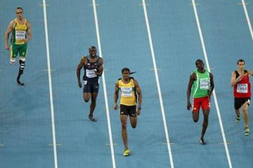 Jermaine Gonzales on his way to victory in the men's 400m semi-finals (Getty Images)