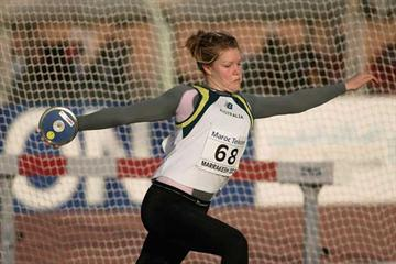 Dani Samuels of Australia during the girls' discus qualification at the World Youth Championships (Getty Images)