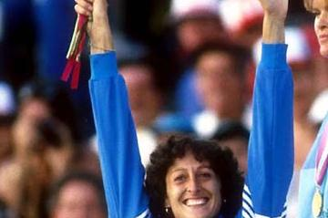 Sara Simeoni (ITA) celebrates her 1984 Olympic High Jump silver medal (Mark Shearman)