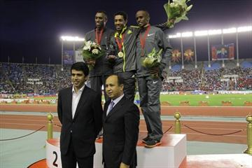 Moroccan Federation President Abdeslam Ahizoune and Hicham El Guerrouj with the men's 1500m podium in Rabat: runner-up Amine Laalou, winner Abdalaati Iguider, and 3rd place finisher Mohammed Shaween (Mohammed Benchrif)