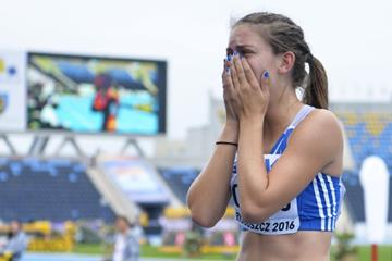 Greece's Konstadina Romeou after taking the silver medal in the women's triple jump at the IAAF World U20 Championships Bydgoszcz 2016  (Getty Images)