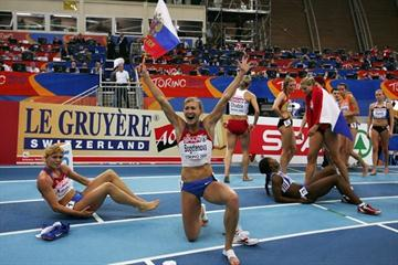 Anna Bogdanova is elated with her victory in the pentathlon (Getty Images)
