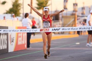 Maria Vasco of Spain on her way to winning the women's 20km World Race Walking Cup in Chihuahua (Getty Images)