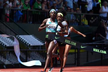 Tori Bowie wins the 200m at the 2016 IAAF Diamond League meeting in Eugene (Kirby Lee)