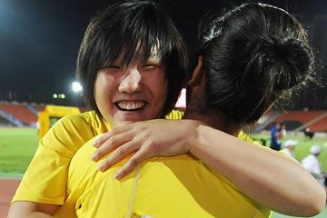 Xie Yuchen celebrates her victory in the Discus at the 2013 World Youth Championships in Donetsk (Getty Images)