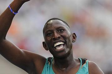 Conseslus Kipruto of Kenya celebrates winning the Men's 3000 metres Steeplechase Final on day six of the 14th IAAF World Junior Championships in Barcelona on 15 July 2012 (Getty Images)
