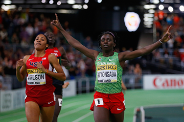 Francine Niyonsaba wins the 800m at the IAAF World Indoor Championships Portland 2016 (Getty Images)