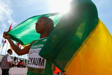 1500m winner Dawit Seyaum at the IAAF World Junior Championships, Oregon 2014 (Getty Images)