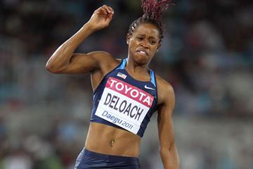 Janay DeLoach of the USA in the women's Long Jump qualifying round (Getty Images)