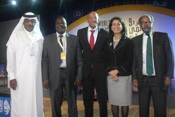 IAAF Vice President Dahlan Al-Hamad (QAT), IAAF Area Representative Hamad Kalkaba Malboum (CMR), IAAF Athletes Commission Vice Chairman Frankie Fredericks (NAM), IAAF Council Member Nawal El Moutawakel (MAR) and Fekrou Kidane in Doha (IAAF.org)