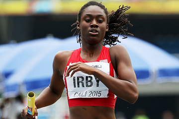 Lynna Irby in action in the relay at the IAAF World Youth Championships Cali 2015 (Getty Images)