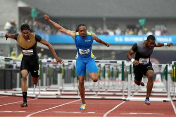 Fast US London-bound trio: trials runner-up Jason Richardson, winner Aries Merritt, and third-place finisher Jeff Porter (Getty Images)