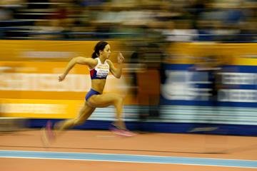 Katarina Johnson-Thompson on her way to a British long jump record in Birmingham (Getty Images)