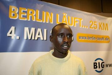 Matthew Koech at the Berlin 25km Press Conference (Victah Sailer)