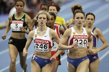 left to right - Yelena Soboleva and Yulia Fomenko (then Chizhenko) compete at the 2006 World Indoor Championships (AFP / Getty Images)