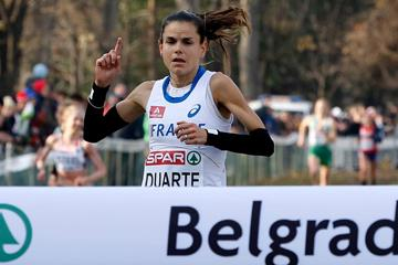 Sophie Duarte wins the senior women's race at the 2013 European Cross Country Championships (Getty Images)