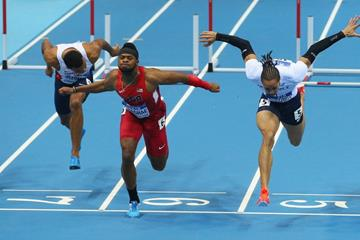 Omo Osaghae wins the 60m hurdles at the 2014 IAAF World Indoor Championships in Sopot (Getty Images)