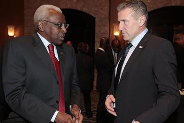 President Lamine Diack and Vice-President Sergey Bubka at the IAAF Council Meeting in Barcelona ()