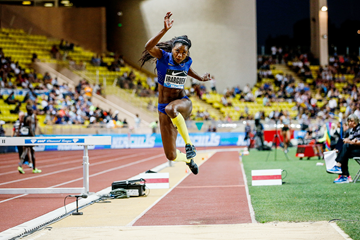 Caterine Ibarguen in the triple jump at the IAAF Diamond League meeting in Monaco (Philippe Fitte)