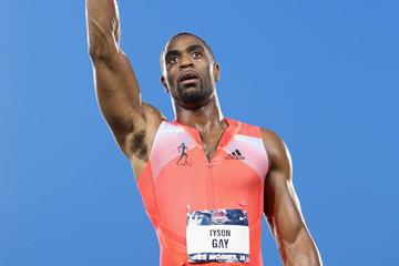 Tyson Gay celebrates his 100m victory at the 2013 US Championships (Getty Images)