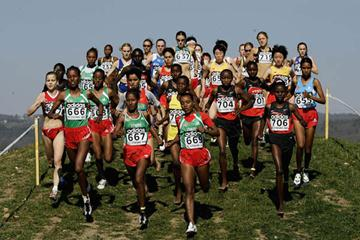 Veronica Nyaruai (206) on her way to World Junior silver in St-Galmier (Getty Images)
