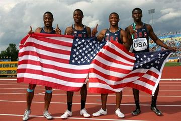Team USA celebrate their gold medal in the men's 4x100m in a world junior leading 38.93 (Getty Images)