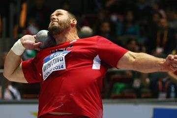 Ryan Whiting in the shot put final at the 2014 IAAF World Indoor Championships in Sopot (Getty Images)
