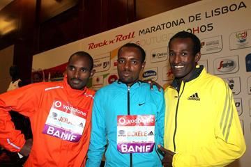 Ibrahim Jeilan, Tariku Bekele and Imane Merga ahead of the 2013 Rock'n'Roll Vodafone Half Marathon of Portugal  (Andrew McClanahan - PhotoRun / organisers)
