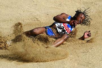 Eunice Barber in action in the Long Jump of the Heptathlon (Getty Images)