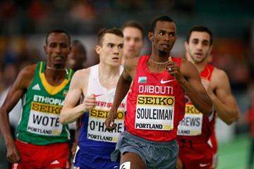 Ayanleh Souleiman wins his 1500m heat at the IAAF World Indoor Championships Portland 2016 (Getty Images)