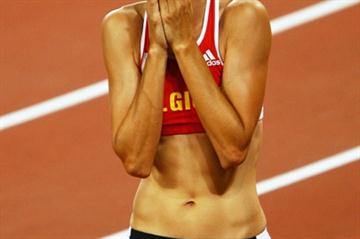 Tie Hellebaut after setting a Belgian record of 2.05m to win the Olympic high jump title (Getty Images)