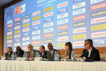 The full panel at the IAAF press conference at SportAccord (Organisers)