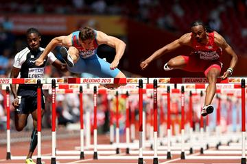 Aries Merritt and Sergey Shubenkov in the 110m hurdles heats at the IAAF World Championships, Beijing 2015 (Getty Images)