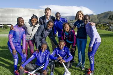 2015 Sanlam Cape Town Marathon elite runners - back row (l-r) Isabella Ochichi (Kenya), Lebo Phalula (South Africa), Nolene Conrad (South Africa), Dereje Debele Tulu (Ethiopia), Elena Meyer (South Africa), Eunice Chebichii Cumba (Bahrain), Abraham Girma Bekele (Ethiopia); front row – Million Feyssa (Ethiopia), David Kemboi Kiyeng (Kenya) (Organisers)