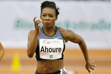 Murielle Ahoure on her way to winning the 60m in Dusseldorf (Gladys Chai)