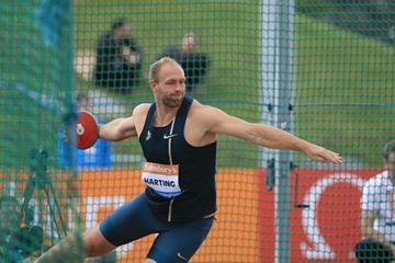 Robert Harting at the 2014 IAAF Diamond League meeting in Birmingham (Jean-Pierre Durand)